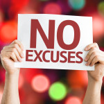 No Excuses card with colorful background with defocused lights