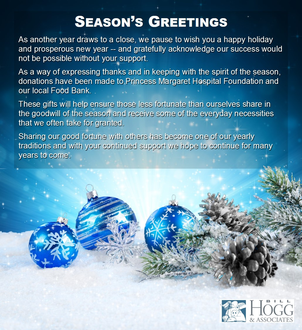 Seasons Greetings Best Wishes For The New Year Bill Hogg